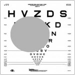 How an eyechart appears to someone with macular degeneration. (credit: Derek Bove)