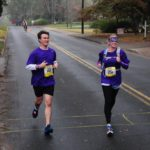 Laura King Edwards ran the Thunder Road half marathon blindfolded, in honor of her sister Taylor. Beside her is Dr. Steve Gray, PI of gene therapy trials for two brain diseases.
