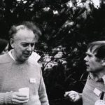 James Watson and Sydney Brenner at the Asilomar conference in 1975, where recombinant DNA research was born. (Natl Library of Medicine)