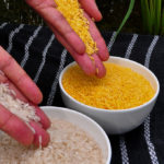 Golden rice is genetically modified to produce beta-carotene, upping vitamin A levels.