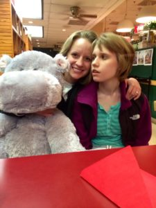A hippo, Laura, and Taylor