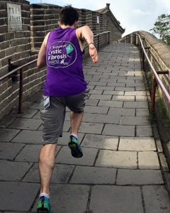 Evan Scully running along the Great Wall of China during the World Athletics Championships in August, 2015 – Beijing is not the best environment for a person with CF.