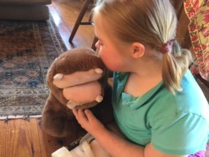 Talia with Cynthia the hippo